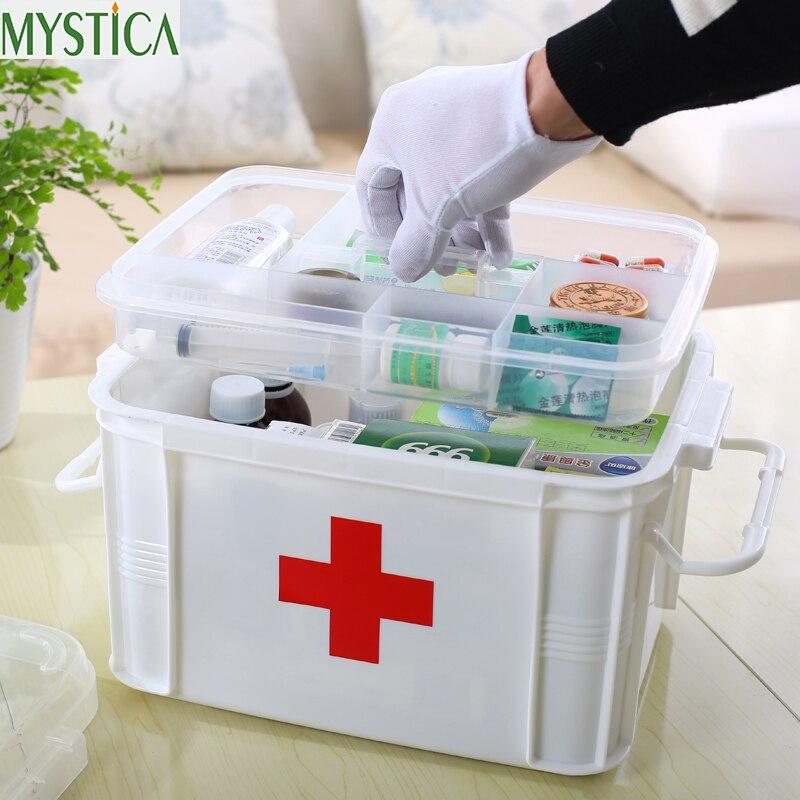 1 pçs multi-camadas grande família kit de primeiros socorros caixa de medicina médica caixa de armazenamento plástico médico coleta de drogas organizador caixas