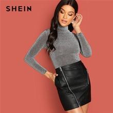 SHEIN gris Highstreet col montant paillettes t-shirt moderne dame à manches longues Slim Fit t-shirt automne décontracté vêtements de travail femmes t-shirts haut