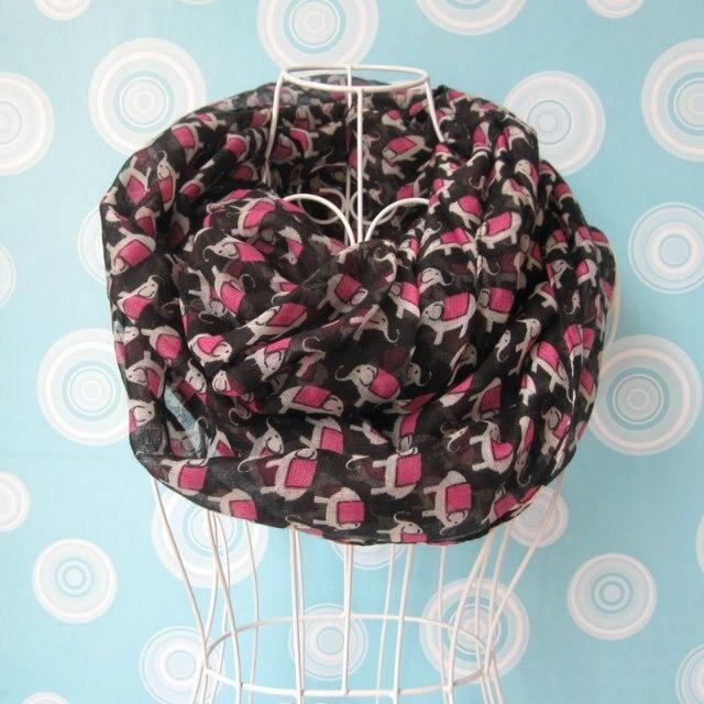¡NOVEDAD DE 2015! bufanda infinita con patrón de elefante Rosa bonito a la moda, bufanda con estampado de Animal, lazo circular de elefante, gran oferta, envío gratis