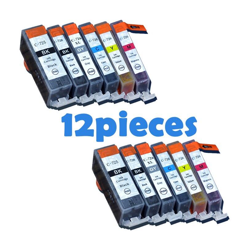 12 piezas PGI725 CLI726 cartuchos de tinta para canon PGI 725 CLI 726 IP4870 IP4970 IX6560 MG5170 MG5270 MG5370 MG6170 MG6270 impresoras