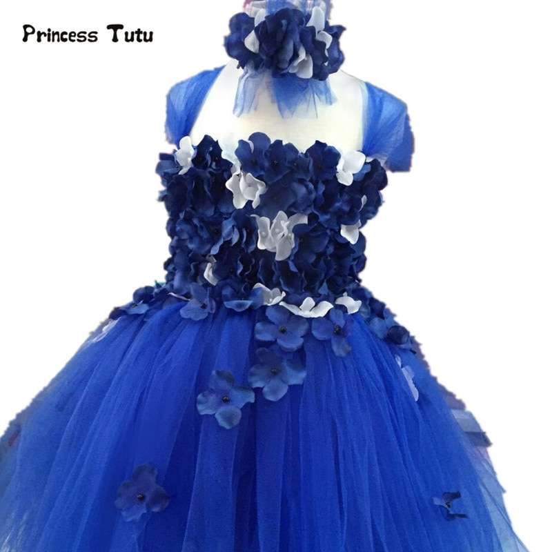 New Flower Tulle Girls Dress Blue White Navy Pink Pageant Princess Dress Girl Performance Wedding Party Tutu Dress Kids Vestidos