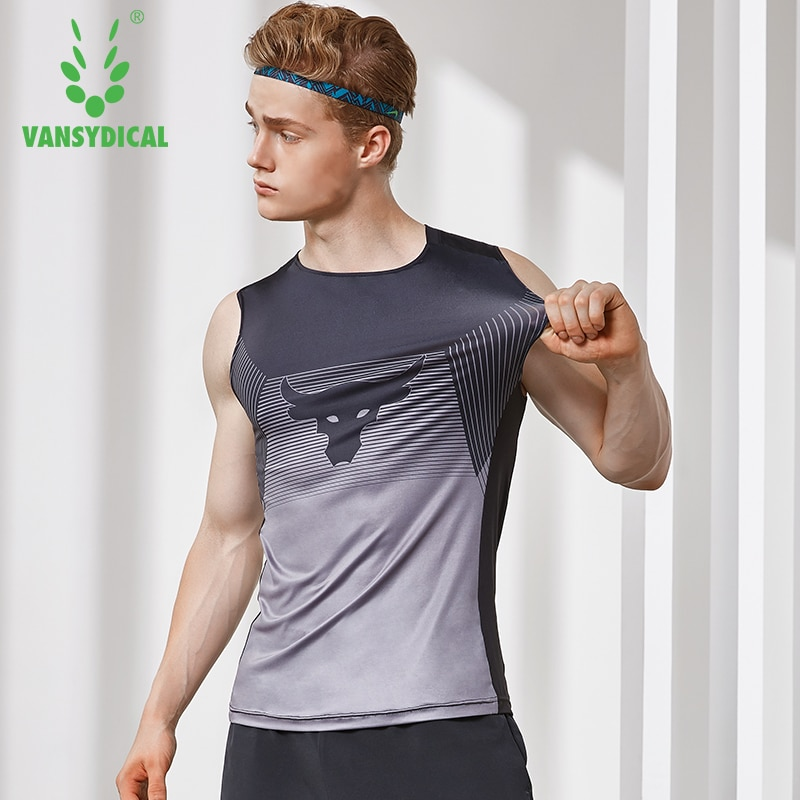 AliExpress - Men's O-Neck Running Training Vests Stretch Gym Tops Printed Fitness Workout Shirts Quick Dry Basketball Tanks