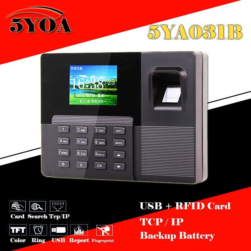 5YOA 5YA031B биометрический отпечаток пальца Посещаемость Время Часы + считыватель ID карт + TCPIP + USB рекордер + запасной аккумулятор перфоратор машина