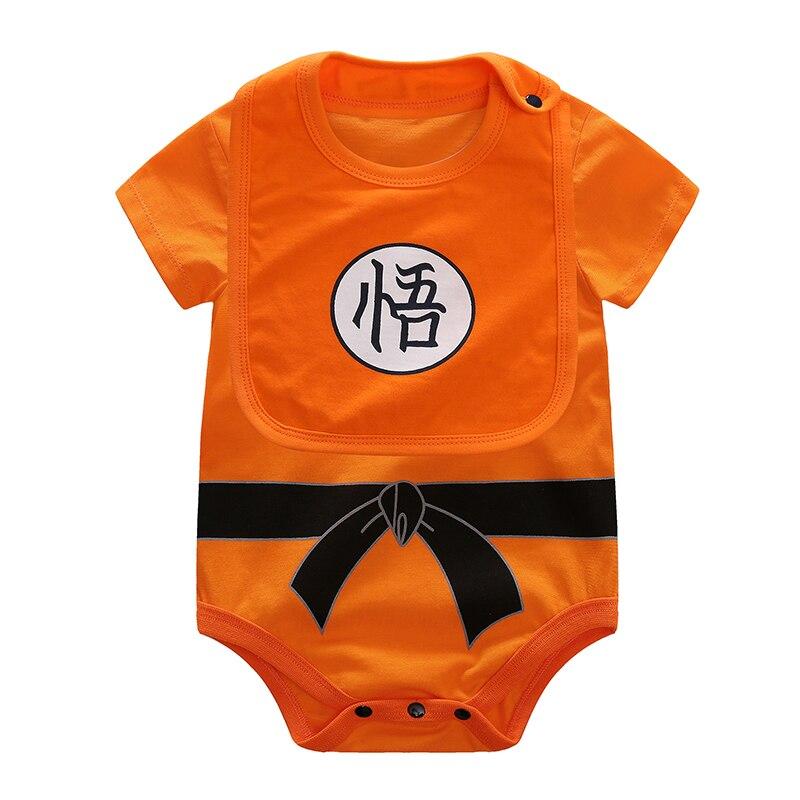YiErYing 2 uds ropa de bebé Baberos + body 100 algodón Dragon Ball manga corta SUN GOKU bebé monos ropa para bebé (niño o niña)