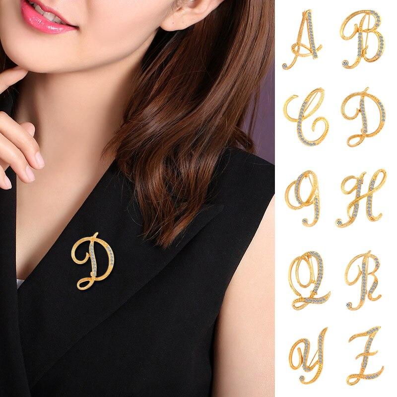 Broche de letra pines letra inglesa broches alfabéticos joyería de diamantes de imitación regalos TT @ 88