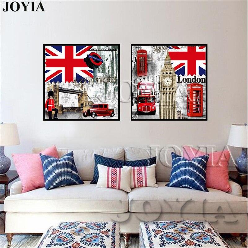 2 pieza Retro de estilo lona Impresión Gran Bretaña bandera lienzo pinturas pared Vintage imágenes artísticas para sala de estar dormitorio, sin marco
