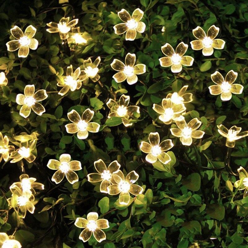 50 LEDS Flor de melocotón lámpara Solar 9,5 M energía LED guirnaldas de luces guirnaldas solares jardín decoración de Navidad para al aire libre