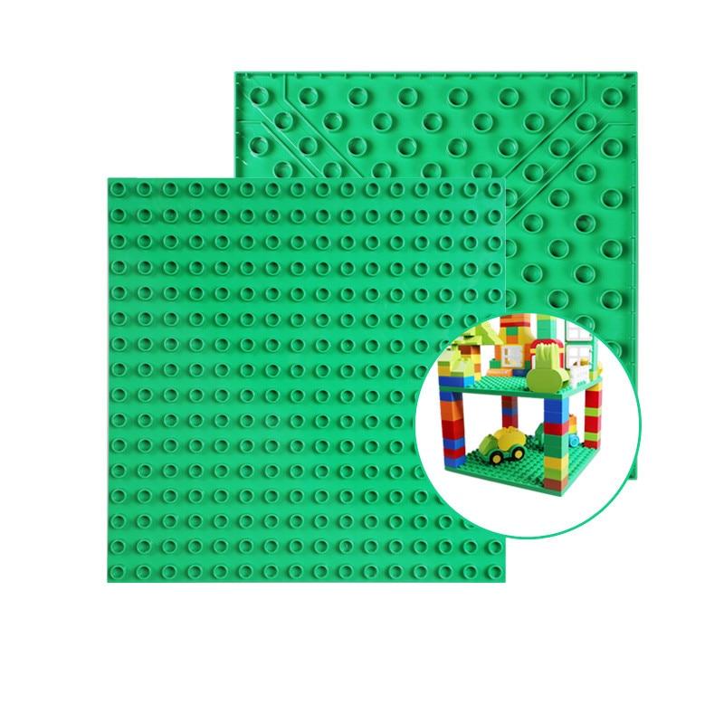 2 uds placa Base de doble cara Compatible con juguetes Duploed figuras de lunares grandes DIY juguetes de bloques de construcción para niños