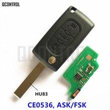 Mando a distancia QCONTROL para PEUGEOT 207 208 307 308 408 entrada sin llave Partner (CE0536 ASK/FSK, 3 botones HU83 Blade)