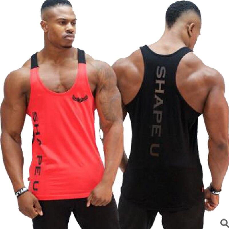 Mens Gym Brand Running Vest New Cotton Patchwork Fitness Tank Top Men Sports Sleeveless Shirt Top Training Bodybuilding Tees