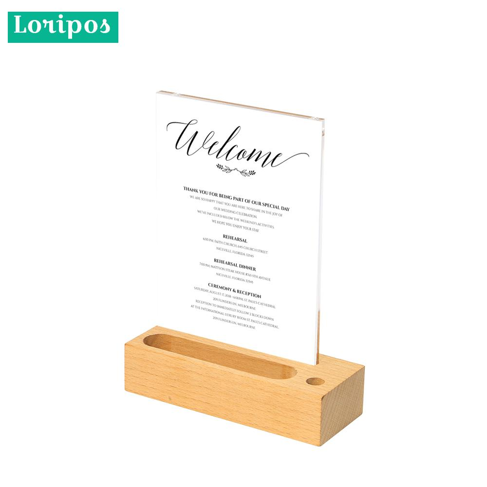 Coutertop Label Stand Desk Sign Holder Business Name Card Holder Wood Menu Stand Frame Photo Picture Poster Frame A5 Acrylic недорого