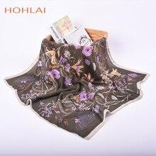 Foulard en soie à fleurs pour femmes   Écharpe carrée en Satin Bandana, modèle de luxe, écharpe en soie modèle châle, mouchoir, 70*70cm