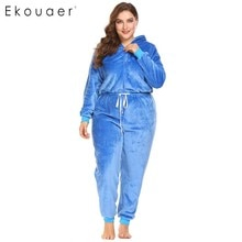 Ekouaer Winter Plus Size Onesies Women Hooded Sleepwear Long Sleeve Zip Up Drawstring Fleece One Piece Pajamas Set Homewear 4XL