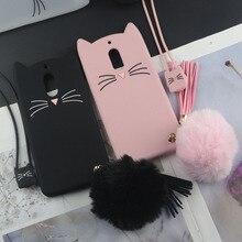 "3D Cute Japan Glitter Lovely Cat Case For Nokia 1 2 6 Nokia1 4.5"" Nokia2 Nokia6 Cover Tassel Pendant Rabbit Fur Hair Ball Case"