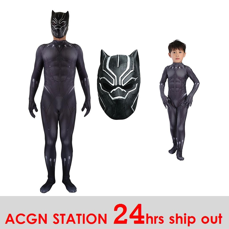 Disfraces de chico de Pantera Negra, disfraz de cosplay de TChalla, disfraz de Pantera Negra, disfraz de Halloween para adulto, traje BP versión envío gratis