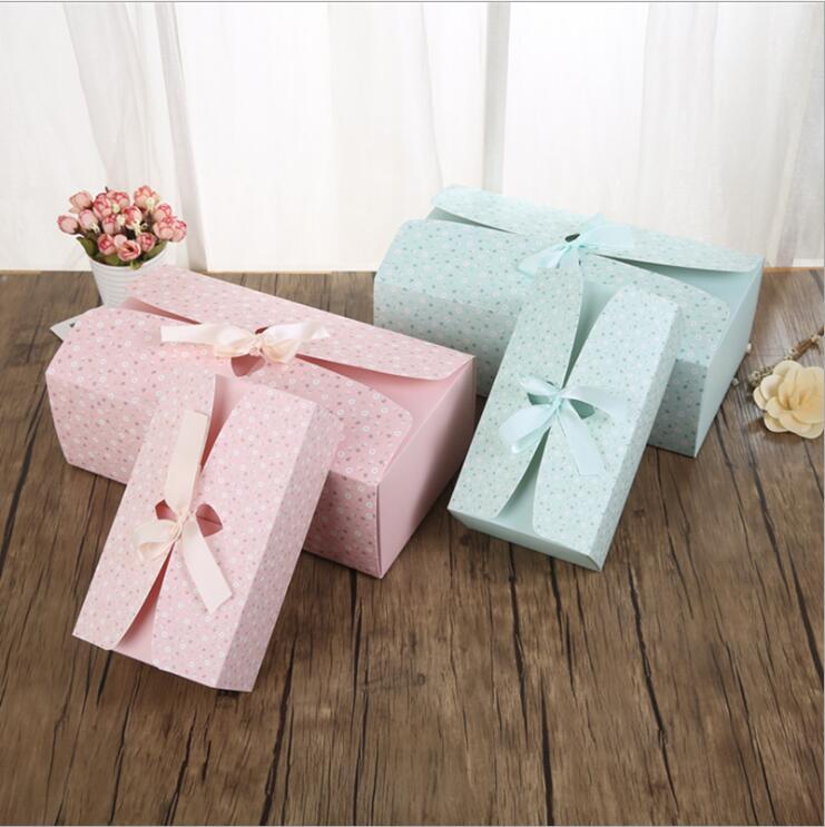 Envío Gratis Paquete de panadería Rosa decoración azul galleta pequeña caja de embalaje para tarta dulces regalo caja de recuerdos de fiestas