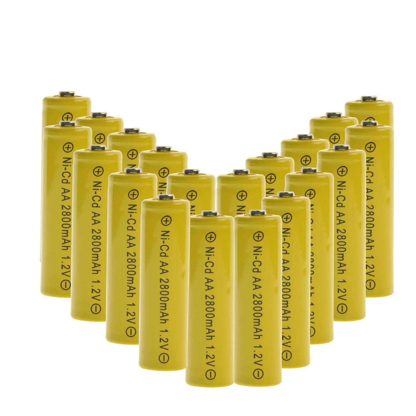 Paquete de 20 NI-CD nueva marca AA 2800mah 1,2 V batería recargable para juguete de luz led mp3 envío gratis amarillo LR06 2A