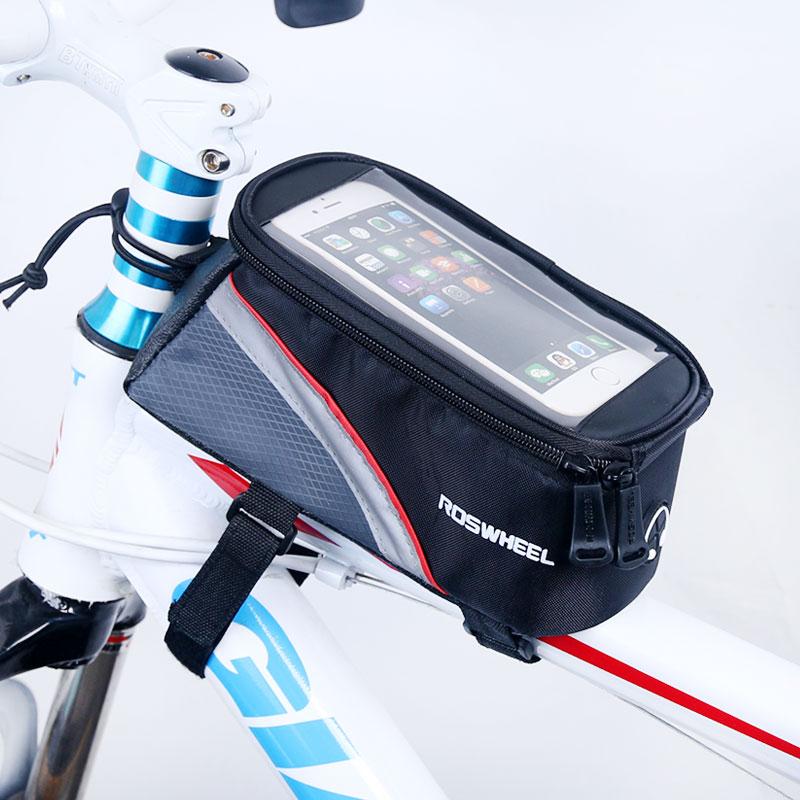 5,5/4,8/4,2 pulgadas Bolsa De Marco de bicicleta delantera Roswheel funda de teléfono móvil bolsa de ciclismo pantalla táctil Mtb bicicleta cesta 12496