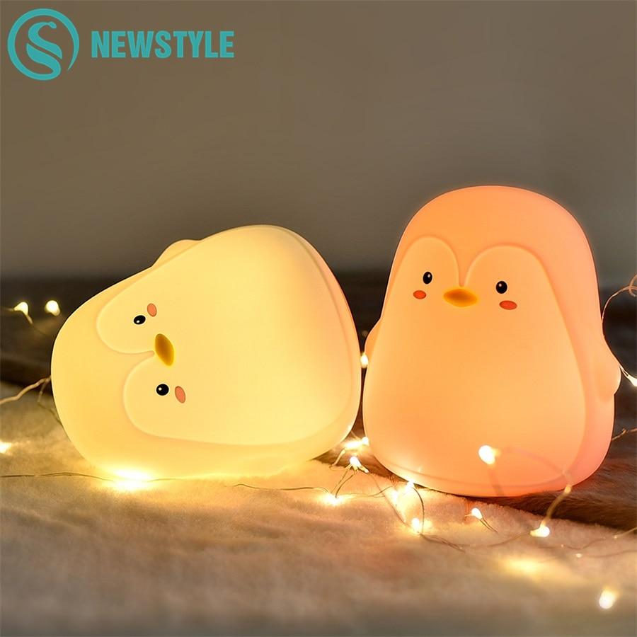 Cute Penguin Silicone Night Light For Children Bedroom Lamp LED Lamp Child Lights Beside Light Lamp Baby Christmas Xmas Gifts