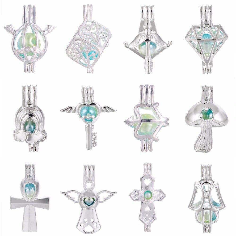 5 шт. серебряный крест с ангелами жемчужная клетка медальон эфирное масло диффузор ожерелье подвески для Oyster Pearl DIY серьги делая кулон
