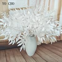 YO CHO искусственный белый цветок растение украшение в виде свадебного букета шелк цветок домашняя ваза декор Ивовый лист зеленая трава искус...