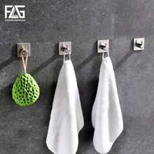 FLG 304 Stainless Steel Robe Hooks Wall Door Clothes Hanger Kitchen Bathroom Rustproof Towel Hooks 4pcs/Set G217-10N-SS