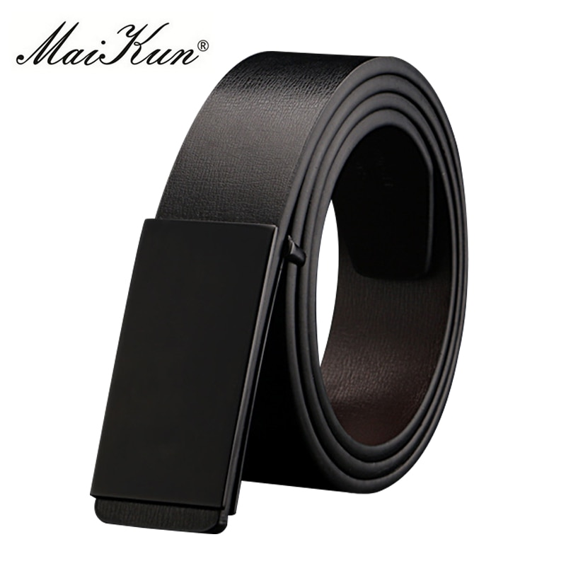 Maikun Belts for Men High Quality Smooth Buckle Synthetic Leather Male Belt Fashionable Men Belt for Jeans fashionable rhombic pattern buckle faux leather belt for men