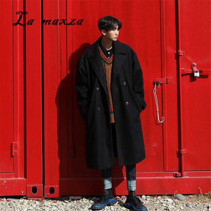 Мужские длинные пальто большого размера, модные зимние свободные пальто в Корейском стиле, 2020