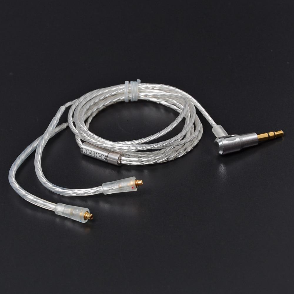 NICEHCK 3,5mm MMCX Cable de alta calidad L flexible enchufe plateado auricular de actualización uso para SE535 SE846 DT600 DT500 gancho de oreja