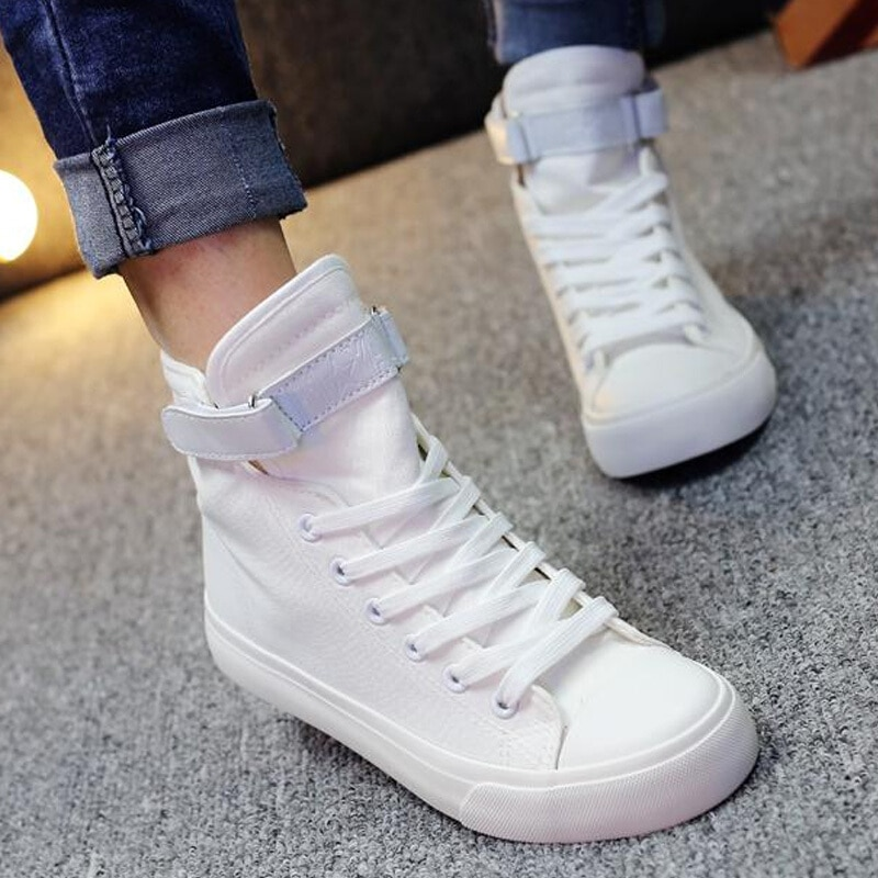 Zapatillas de deporte para mujer, zapatos de lona negros, zapatos informales blancos para mujer, canasta plana con cordones, zapatillas sólidas para mujer