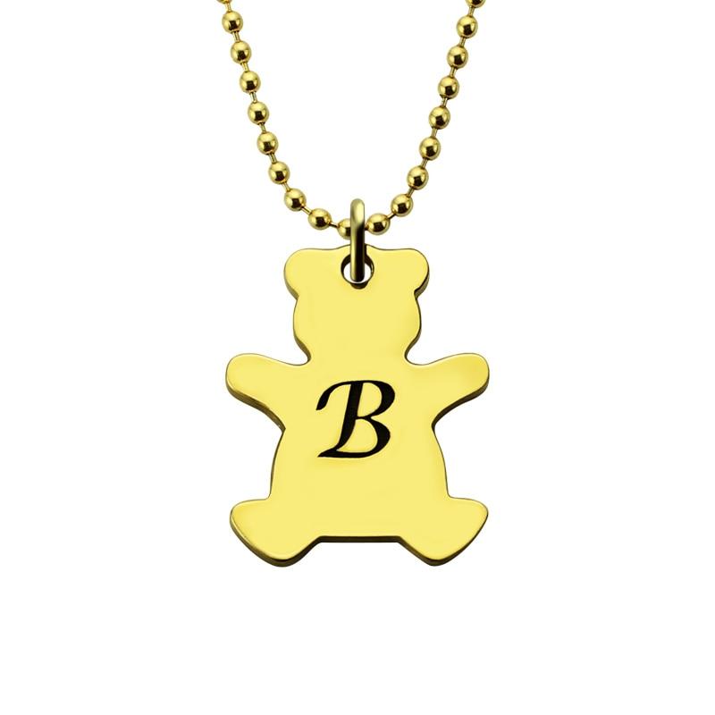 ¡Venta al por mayor! Collar de monograma oso encanto Color oro personalizado oso inicial collar osito de peluche amoroso Animal collar