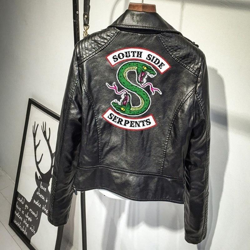 Chaqueta de cuero Southside Riverdale, chaquetas de motos Bomber para mujer, abrigos cortos ajustados, abrigo con cierre, ropa de calle coreana