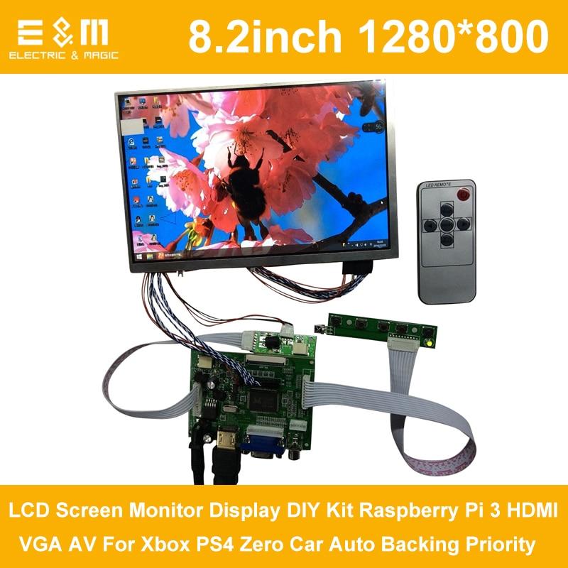 8,2 pulgadas 1280*800 IPS pantalla LCD Monitor DIY Kit Raspberry Pi 3 HDMI VGA AV para Xbox PS4 cero Auto respaldo prioridad