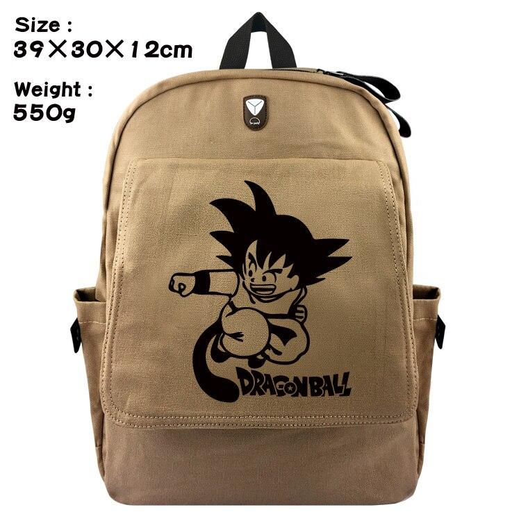 Cartoon Dragon Ball Backpack Canvas Students Schoolbag Sun Goku Zipper Rucksack For Teenagers Kids Daily Bags