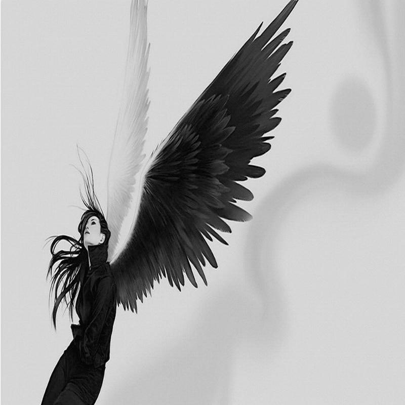 Dropshipping papel pintado Fatman Pared de fotos nórdica Mural ángel caído alas de mujer hermosa FONDO DE TV papel tapiz 3D Behang
