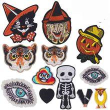 Halloween Combinatie Pompoen Heks Uil Geborduurde Patch Applique Leuke Stof Badge Kledingstuk Diy Kleding Accessoires Badges