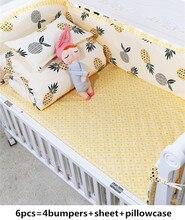 Cama-ensemble de literie bébé 6 pièces   Berceau 100% coton, ensemble de lit bébé pour garçons jogo de cama (4 pare-chocs + drap + housse doreiller)