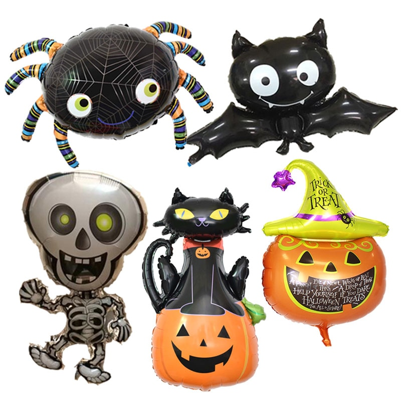 Halloween Pumpkin Ghost Balloons Halloween Decorations Spider Foil Balloons Inflatable Toys Bat Globos Halloween Party Supplies pikaalafan giant inflatable toys halloween easter funny doll inflatable props terror ghost hug people inflatable clothes cosplay