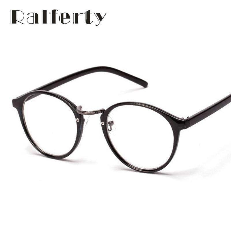 Ralferty Fashion Vintage Myopia Optic Eyeglasses Frames Women's Utra-light Circle Glasses Frame With Lens Round Oculos Black W13