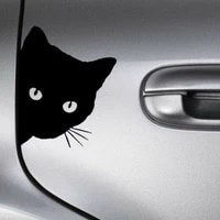 Autocollants reflechissants pour voiture  adhesifs creatifs  visage de chat noir  decoration automobile  fenetre  porte