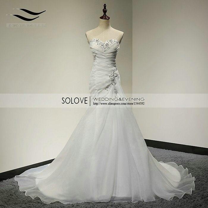 Настоящее изображение элегантное Плиссированное свадебное платье из органзы с