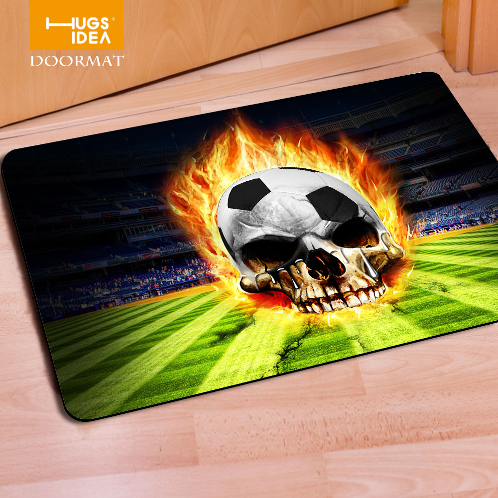 Alfombra de DISEÑO DEPORTIVO de balón de fútbol de moda para baño Crazy Skull baloncesto fútbol impresión elegante suelo felpudo Alfombra Tapetes