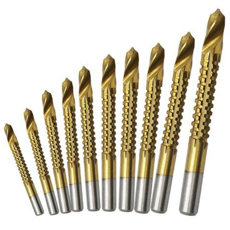 10 uds, nueva broca de taladro HSS recubierta de Titanio de 3-13mm, taladro eléctrico, taladro de Metal de plástico, herramientas de trabajo con madera para carpintero