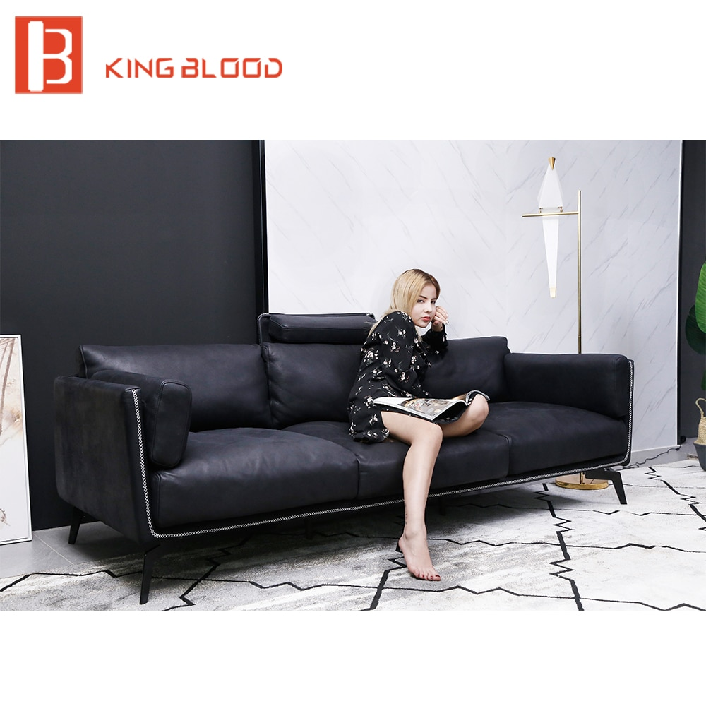 Moderna itália genuíno nappa couro metal quadro sala de estar sofá conjunto