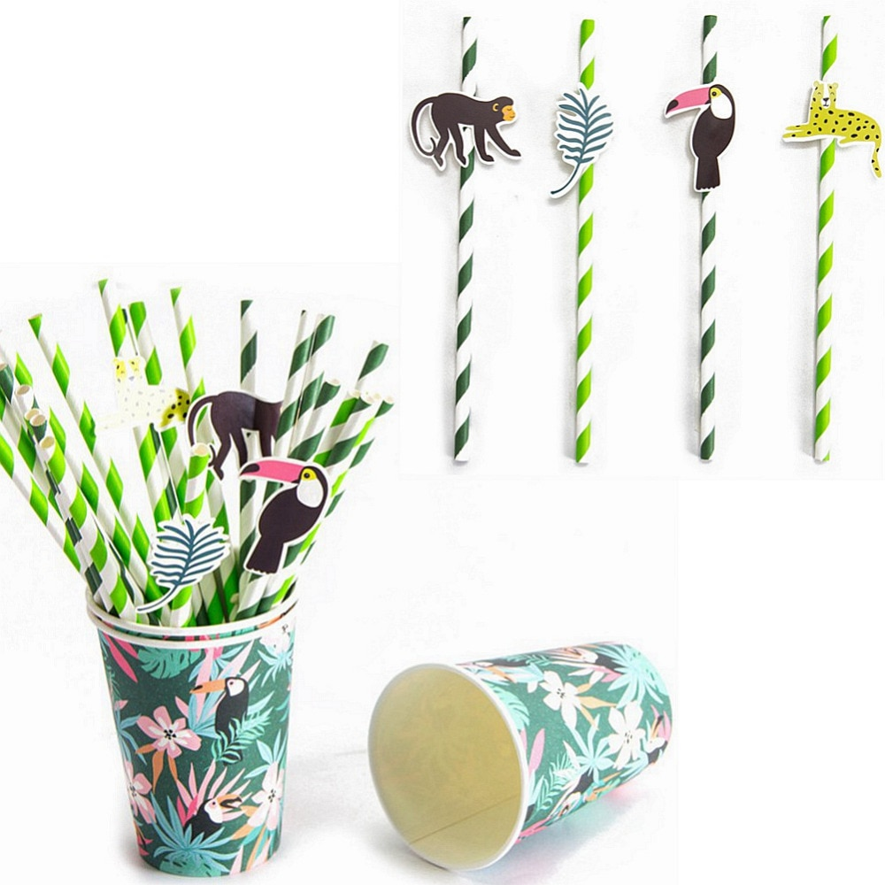 AliExpress - Pack of 24 Jungle Animal Party Paper Straws with Toucan Monkey Tropical Leaves Cutouts Tropical Birthday Party Shower Supplies