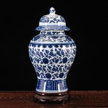 Jingdezhen keramik glas antiken ornament, blau und weiß TV schrank allgemeine tankstorage tank handwerk dekorative vase