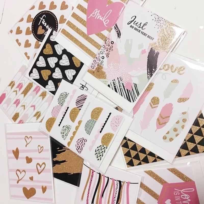 12 pcs Criativo DIY Personalizado Kawaii amor Cartões Desejo Cartão Colorido Heart & Asa de ouro