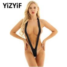Seksi mayo Tek Parça Mayo Kadın Tek Parça Bikini See Through Sheer Mikro G-string Güneşlenme Mayo Stripper Beachwear Bikini