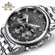 AESOP montre de marque de luxe hommes noir automatique mécanique plein acier inoxydable mâle horloge étanche Relogio Masculino haut heures