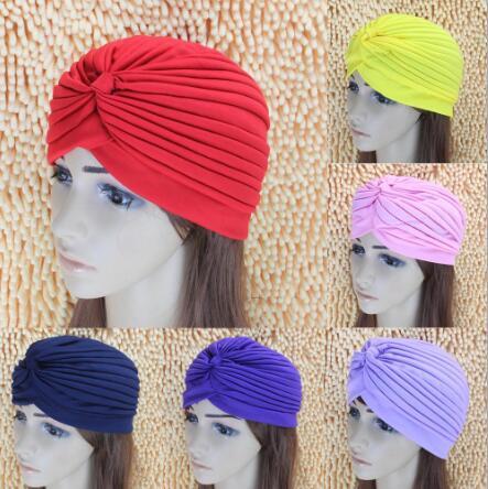 12 Uds. 2019 mujeres pañuelo indio sombrero Retro diadema Hijab musulmán turbante oreja Cap Pleated Headwear Bandanas cabeza gorros Flip Cap